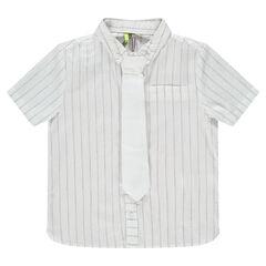 Hemd met korte mouwen in katoen met strepen en das