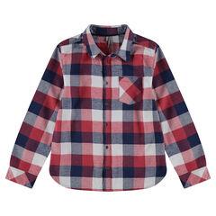Junior - Chemise manches longues à carreaux contrastés