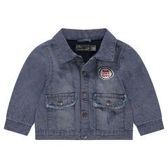 Jeansvest met used effect en opgestikte badge