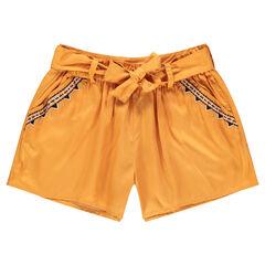Junior - Short jaune en lyocell avec frises brodées