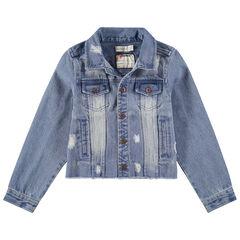 Junior - Jeansvest met used effect en geborduurd opschrift aan de achterzijde