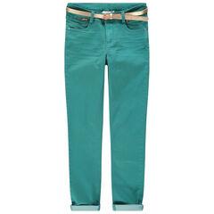 Junior - Effen blauwe broek met afneembare, gouden riem