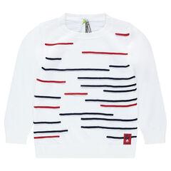 Pull en tricot avec bandes contrastées en relief
