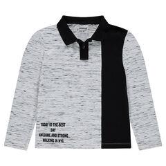 Junior - Polo van jerseystof met slubeffect en print met opschrift