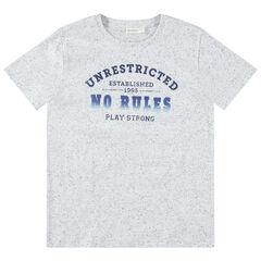 Junior - T-shirt manches courtes effet neps avec message printé