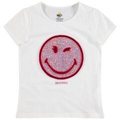 T-shirt manches courtes en jersey Smiley à paillettes