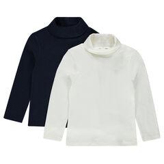 Junior - Lot de 2 sous-pulls à col roulé unis en jersey