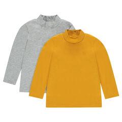 Set van 2 onderhemdjes met lange mouwen met opstaande kraag