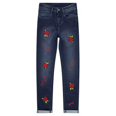 Junior - Slim-fit jeans met opgestikte rozen