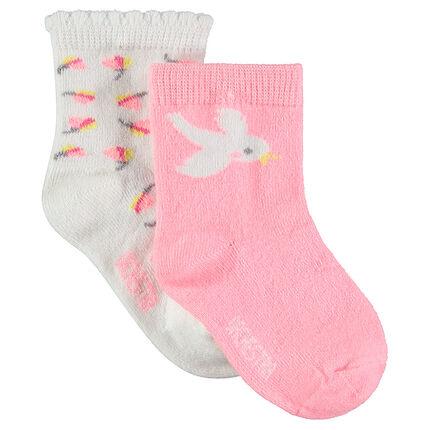 Lot de 2 paires de chaussettes avec motifs jacquard fantaisie
