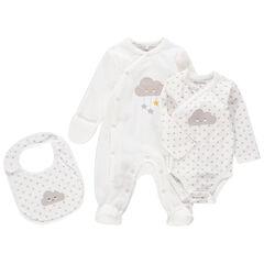 Uniseks geboorteset met pyjama van velours, body en slabbetje met wolkenmotief