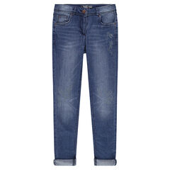 Junior - Slim-fit jeans met print en afgewassen effect