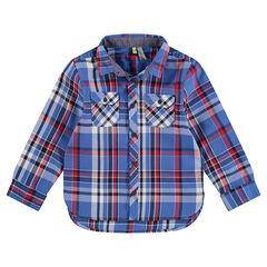 Junior - Hemd met lange mouwen, grote ruiten en zakken