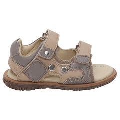 Lederen sandalen met klittenbandsluitingen en met contrasterende inzetstukken