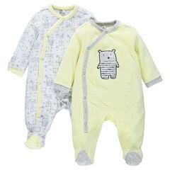 Pyjama in effen fluweel met motif met Teddyberen