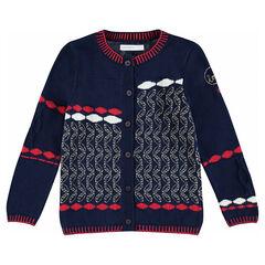 Gilet en tricot avec motifs jacquard et touches de doré