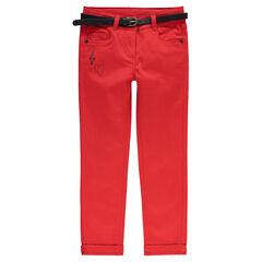 Pantalon slim en satin de coton uni avec ceinture amovible effet cuir