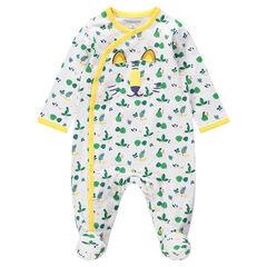 """Katoenen pyjama met jungleprint """"all-over"""" en tijger in reliëf"""
