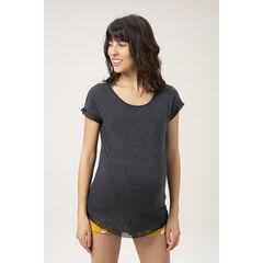 Homewear zwangerschapsshirt met korte mouwen met afwerking van tule