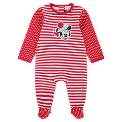 Pyjama van velours met strepen en stippen en patch van Minnie ©Disney