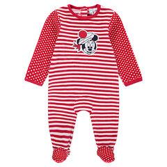 Pyjama van velours met strepen en stippen en patch van Minnie ©Disney