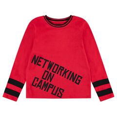 Junior - Tee-shirt manches longues en jersey avec print et col fantaisie