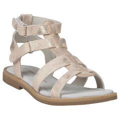 Gouden sandalen met croco effect en Spartaanse stijl van maat 28 tot 35