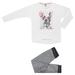 Junior - Pyjama long bi-matière avec print fantaisie bouledogue