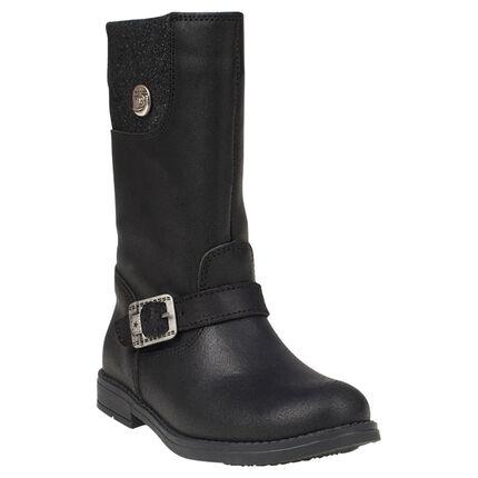 Laarzen in leder gesp in zwarte kleur met inzetstuk met pailletten