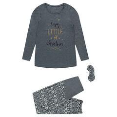 Zwangerschapspyjama in 3 delen van jerseystof in kerstsfeer