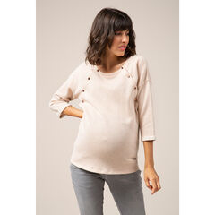 Zwangerschapssweater van fantasietricot met knopen vooraan