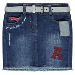 Jeansrok met afneembare riem met pailletten en borduurwerk