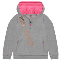 Junior - Sweat en molleton à capuche avec inscription printée