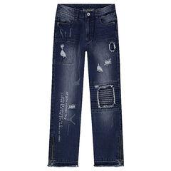 Junior - Jeans effet used avec usures, patchs et inscriptions printées