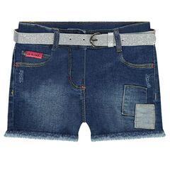 Jeansshort met used-effect en afneembare riem met pailletten