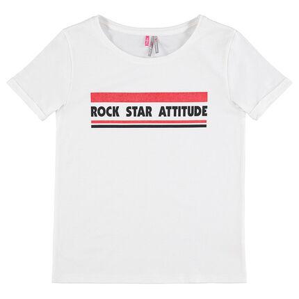 Junior - T-shirt met korte mouwen van jerseystof met print met boodschap