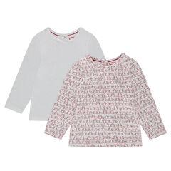 Set met 2 T-shirts met lange mouwen en drukknoopsluiting, effen/bedrukt