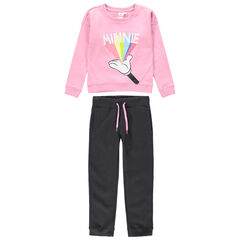 Jogging en molleton print Minnie et bandes brillantes