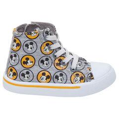 """Hoge linnen sneakers van ©Disney met Mickeymotief """"all-over"""""""