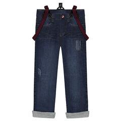 Straight fit jeans met used effect en elastische, afneembare schouderbandjes