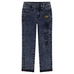 Straight-fit jeans met afgewassen effect en badge van ©Warner Batman