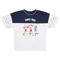 T-shirt manches courtes en jersey bicolore avec print esprit ethnique