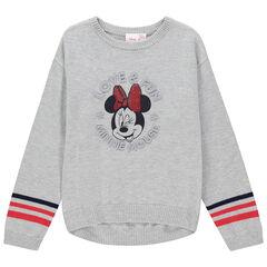 Pull gris à bandes contrastées et motif Minnie Disney , Orchestra