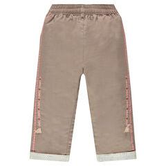 Pantalon en coton fantaisie avec broderies et pompons