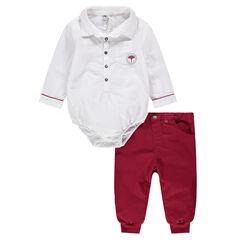 Body manches longues style chemise avec pantalon en twill rouge