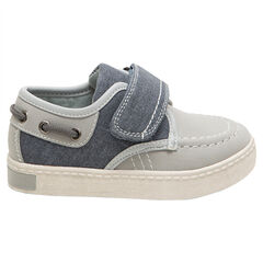 Lage sneakers in bootstijl in twee materialen met klittenbandsluiting van maat 28 tem 35