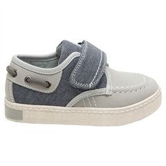 Lage sneakers in bootstijl in twee materialen met klittenbandsluiting van maat 24 tem 27