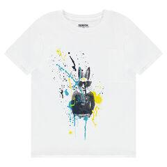 Junior - Tee-shirt manches courtes en jersey avec lapin et effet de tâches printés