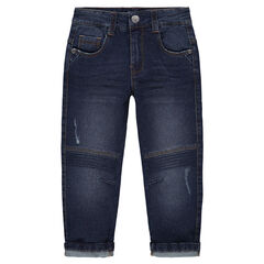 Jeans effet used et crinkle