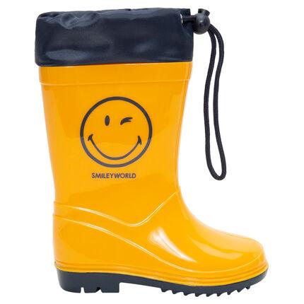 Regenlaarzen met waterdichte sluiting en Smileyprint van maat 20 tot 23